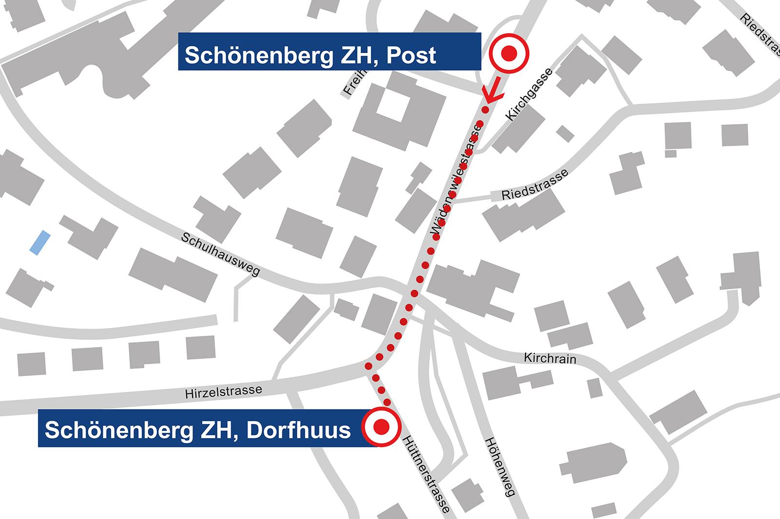 Schönenberg Posti-Haltestelle Dorfhuus
